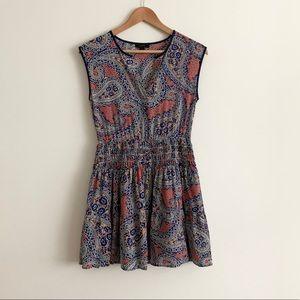 J. Crew Silk Smocked Waist Dress Paisley Print